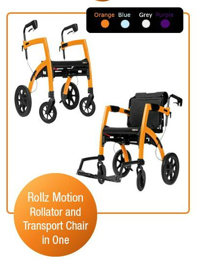 Rollz motion side folding rollator amp transport wheelchair all in one